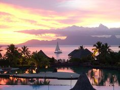 view from the Intercontinental Resort in Tahiti Vacation Destinations, Dream Vacations, Vacation Spots, Oh The Places You'll Go, Places To Travel, Places To Visit, Tahiti French Polynesia, Surf, Wonders Of The World