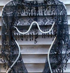 Lace Infinity scarfBlack Lace Scarf Festival ScarfMother of Bridal Shawl, Wedding Shawl, Boho Wedding, Lace Scarf, Fringe Scarf, Lace Shawls, Best Friend Gifts, Gifts For Friends, Vintage Scarf