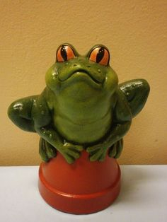 Delicieux Hand Painted Frog On A Pot For Your Gnome Garden By Cinstreasures