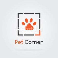 Pet logo cloud concept with paw icon. Vector for pet shop or hotel.