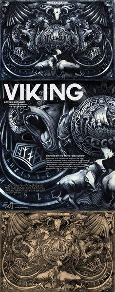 """Viking Artwork / Strength23 hours of drawing7 hours of photoshopWhen I think of the Viking and the Nordic style, the word """"strength"""" immediately comes to mind. Collectively and creatively I began to create a brutal poster showcasing the Nordic style. …"""