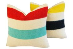 Hudson's Bay Blanket Pillows,     Pair