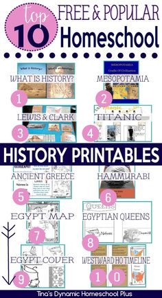 Top 10 Popular Free History Printables.Today, I wanted to share with you what my readers love here when it comes to history printables. Be sure you have grabbed all of these top 10 free popular homeschool history http://www.tinasdynamichomeschoolplus.com/2016/02/10/top-10-free-popular-homeschool-history-printables/
