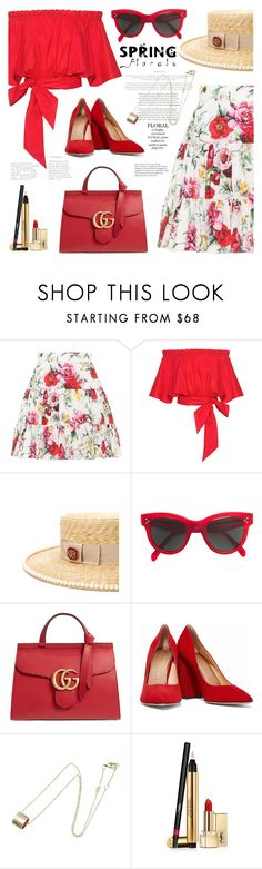 """""""My mood today"""" by jan31 ❤ liked on Polyvore featuring Dolce&Gabbana, Saloni, Gucci, CÉLINE, Charlotte Olympia, TIBI and Yves Saint Laurent"""