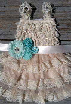 Mint Blue/Turquoise Flower Girl Lace Dress/Rustic Flower Girl Cream-Champagne Flower Girl/Country Wedding-Mint-Seabrook-Flower Girl Dress