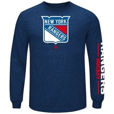 Mens New York Rangers Majestic Royal Blue Marled Long Sleeve T-Shirt