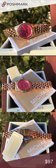 Michael Kors Lexington Glam bracelet watch MK3285 SELLING OUT FAST! Authentic MK3285 / Model:  Lexington / Rose Gold stainless steel with pink dial / Michael Kors watch box and owners booklet included / 26mm case  / 5 ATM / UPC: 796483098213 / No trades. Buy now or offer only / Same business day shipping Michael Kors Accessories Watches