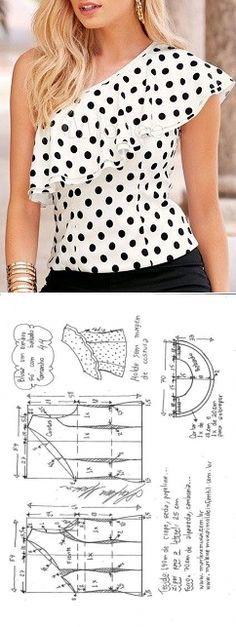 Blusa um ombro só com babado no decote | DIY - molde, corte e costura - Marlene Mukai