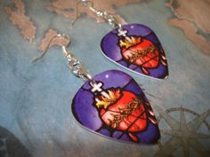 RELIGIOUS GUITAR PICK EARRINGS by thejewelrydream on Etsy, $6.99