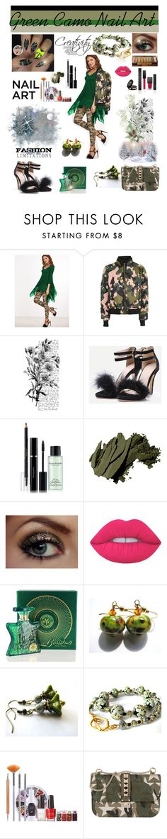 """""""Green With Envy: Wintery Nail Polish"""" by belladonnasjoy ❤ liked on Polyvore featuring beauty, Topshop, Gucci, Pennyblack, Elizabeth Arden, Bobbi Brown Cosmetics, Lime Crime, Bond No. 9 and Valentino"""
