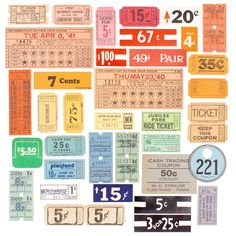 Image of Vintage Tags & Tickets Collection Vintage Scrapbook, Vintage Stamps, Junk Journal, Bullet Journal, Airmail Envelopes, Learn Embroidery, Bingo Cards, All Paper, Scrapbook Supplies