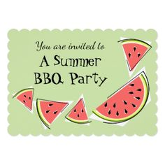#stylish - #Watermelon Pieces Green Summer BBQ horizontal Card