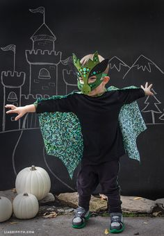 Home made Halloween Costumes - No-Sew Dragon Mask and Cape. Free pattern and tutorial @LiaGriffith.com