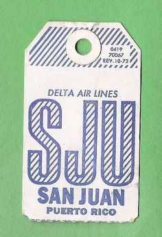 Form Tag, San Juan Puerto Rico, Vintage Prints, Vintage Style, Luggage Labels, Electric Skateboard, Air Tickets, Baggage Claim, Travel Posters