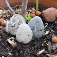 Simple rock painting idea to add whimsy to potted plants.