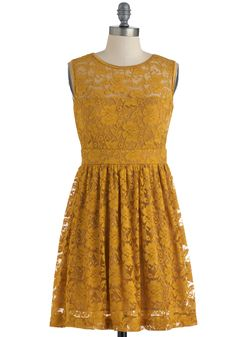 Bridesmaids $59.99Good as Goldenrod Dress - Short, Yellow, Lace, Party, A-line, Sleeveless, Spring, French / Victorian