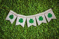 St Patricks day burlap banner - Shamrocks - St Pattys day - Irish - kiss me banner