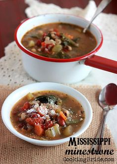 Black eyed peas, red beans, okra, and collard greens give this Mississippi minestrone it's Southern flavor