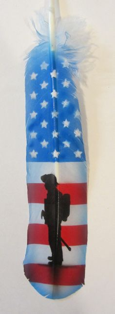 Hand Painted Turkey Feather  American Fireman by AIRBRUSHTEXAS, $15.00