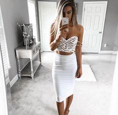 Beautiful white two piece set. Pencil skirt. crop top.