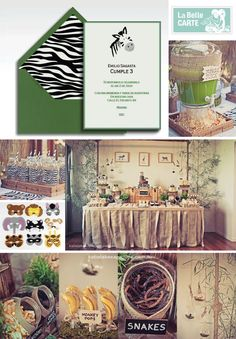 Safari Party Children Jungle Zebra Invitations - Invitaciones fiesta safari, jungla, zebra - La Belle Carte
