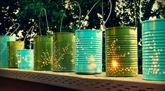 DIY tin can lanterns and other outdoor lighting ideas! Outdoor Projects, Diy Projects, Backyard Projects, Luminaria Diy, Tin Can Lanterns, Garden Lanterns, Hanging Lanterns, Hanging Lights, Outdoor Lighting