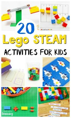 Make teaching math, science, and technology fun with this list of Lego STEAM activities for kids! These easy Lego STEM activities are great for learning! # stem activities for kids 20 Fun LEGO STEM Activities for Kids - Look! We're Learning! Math Activities For Kids, Steam Activities, Fun Math, Lego Math, Lego Games, Lego Challenge, Stem For Kids, Lego For Kids, Kids Fun