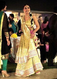 Designer - Amrita Thakur  Lucknowi chikan lehenga in pista green accented with pink borders with Gota work