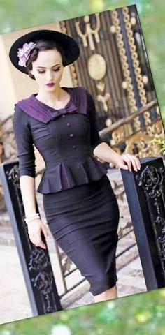 Stop Staring Bombshell Vintage Inspired Cheesecake Elisha Black Dress USA XS-XL #StopStaring #1940sreproductionSuitdress #MidCenturyHoliday