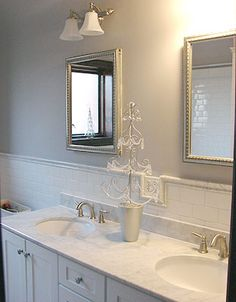 White subway tiles in bathroom (Avalon has a beveled edge subway tile that gives it a bit of interest rather than this flat subway tile. Gray And White Bathroom, White Bathrooms, Ensuite Bathrooms, Bathroom Mirrors, Bathroom Renos, Bathroom Colors, Bathroom Cabinets, Bathroom Ideas, Bathroom Inspiration