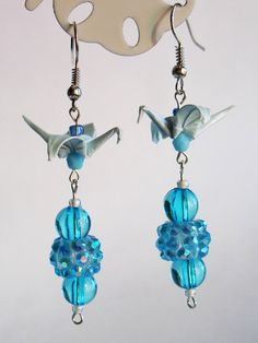 Handmade Origami Earrings with Cranes of Happiness Metallic Paper Blue Glitter