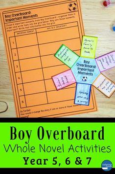 Boy Overboard Novel Study: Whole Novel Activities Morris Gleitzman, Language Study, Language Arts, Maths Investigations, Teaching Strategies, Teaching Ideas, Teacher Resources, Classroom Resources, Australian Authors