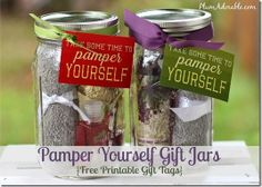 Gift in a Jar: Pamper Yourself.  Great for the teenage girls on those gift trees that are everywhere at Christmas!  I could even toss in some of the expensive nail polish that I never wore, or the Lush bath bombs I've never used.  Oh, the ideas are endless!