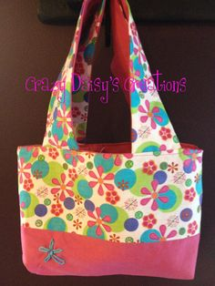 Kindle tote in doodle daisy print