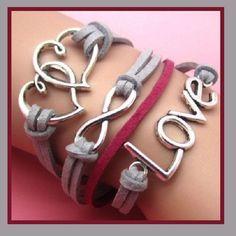 $5.50 Gray & Pink Multi Layered Wrap Bracelet Hearts Love Infinity Symbol Charm Womens - Bracelets