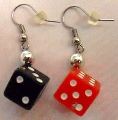 Red and Black Dice Earrings by CrashsCuriosities on Etsy, $10.00