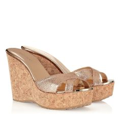 0cfdb136482 Jimmy Choo Perfume nude glitter wedge sandal For Your Eyes Only