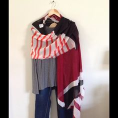 Multi colored scarf Black, maroon, white and orange scarf with fringe edges Mossimo Supply Co Accessories Scarves & Wraps