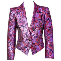 Purple and Red Yves Saint Laurent Brocade Spencer Jacket From a collection of rare vintage jackets at https://www.1stdibs.com/fashion/clothing/jackets/