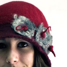 love this amazing talented young lady! 1920s Hat Felted Hat cloche hat wool felt flapper art by jannio, $89.00