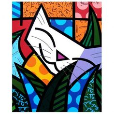 "Gravura - Romero Britto - ""Behind the Bushes"" Picasso Paintings, Canvas Paintings, Modern Pop Art, Animal Projects, Arte Pop, Whimsical Art, Cat Art, Painting Inspiration, Painted Rocks"