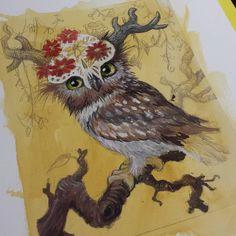 Posted by kirileonard : Work in progress! Painting in the sugar skull owl for @kittygrimelin45 #workinprogress #illustration #owl #owlart #gouache #paintingprocess #painting #artistsoninstagram