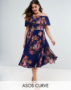 ASOS CURVE Navy Floral Bardot Midi Dress