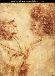 Heads of an old man and a youth by Leonardo da Vinci Date: c.1495; Milan, Italy  Style: High Renaissance Genre: portrait Media: chalk, paper Dimensions: 20.8 x 15 cm Location: Uffizi Gallery, Florence, Italy