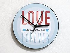 Love Lasts Forever - Wall Clock. ❂ 3mm thick black mat acrylic face with high quality printed vinyl on it ❂ My clock mechanisms are EZ Quartz® Sweep (Non Ticking - Silent) and RoHS Approved! ❂ Requires 1 AA battery (not included).
