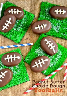 Buttery, crunchy, and sweet-and-salty, these Peanut Butter Cookie Dough Footballs are PERFECT for the Big Game!