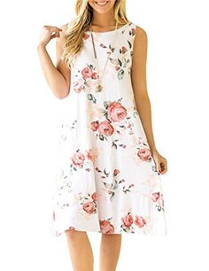 e1c6aa8db0d4 Ruici Womens Summer Sundress Casual Sleeveless Floral Print swing dress  with pockets Casual Summer Dresses