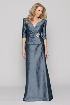 Wedding Dresses, Bridesmaid Dresses, Prom Dresses and Bridal Dresses Watters C20 Special Occasion Dresses - Style 2481 [2481] - Watters C20 Special Occasion Dresses, Fall 2012. Dupioni silk 2-piece suit with a fitted and rouched jacket with 3/4 length sleeves and floor-length a-line skirt. Jeweled fabric brooch at waist. Brooch also sold separately as style 2910. Shown In: Tinsel