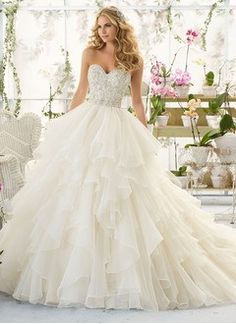 Ball-Gown Strapless Sweetheart Court Train Organza Wedding Dress With Beading Cascading Ruffles