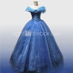 Fantasias de Cosplay Princesa / Cinderella / Conto de Fadas Cosplay de Filmes Azul Cor Única Vestido / AnáguaDia Das Bruxas / Natal / Ano de 2017 por R$405.57